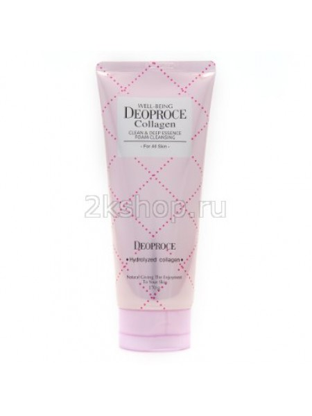 Deoproce Well-being collagen clean & deep essence foam cleansing  Пенка для умывания коллаген