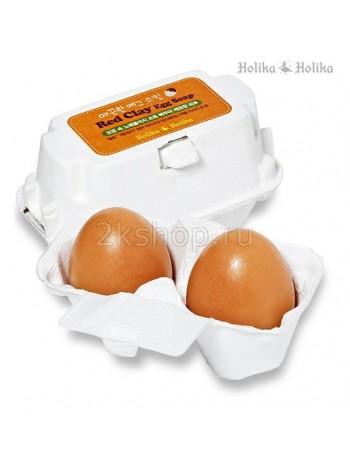Holika Holika Red Clay Egg Soap(50G*2) Мыло-маска ручной работы с красной глиной  (50*2)