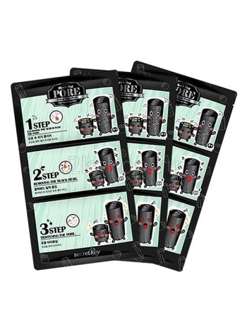 Secret Key Black Out Pore 3-Step Nose Pack  Набор патчей для удаления черных точек