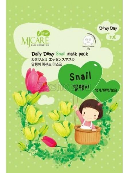 Тканевая маска  с экстрактом слизи улитки Mijin MJ Care Daily Dewy Snail mask pack