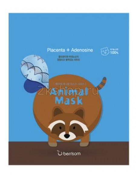 Berrisom Animal mask series - raccoon Маска тканевая с экстрактом плаценты Енотик