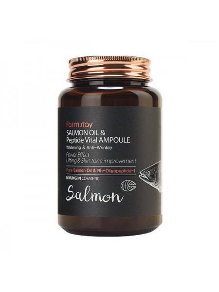Омолаживающая ампульная сыворотка с  пептидами FarmStay Salmon Oil & Peptide Vital Ampoule