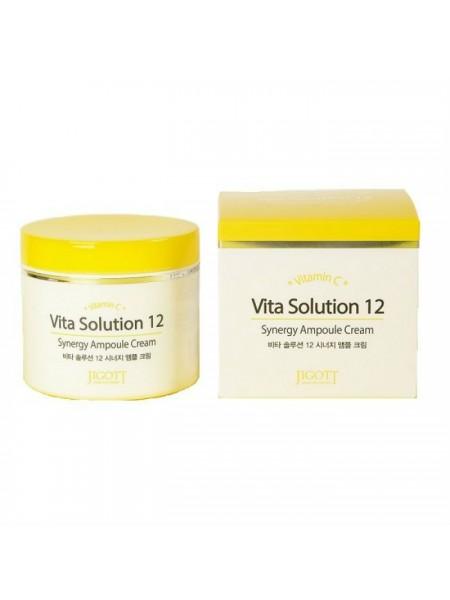 Тонизирующий ампульный крем для лица JIGOTT Vita Solution 12 Synergy Ampoule Cream