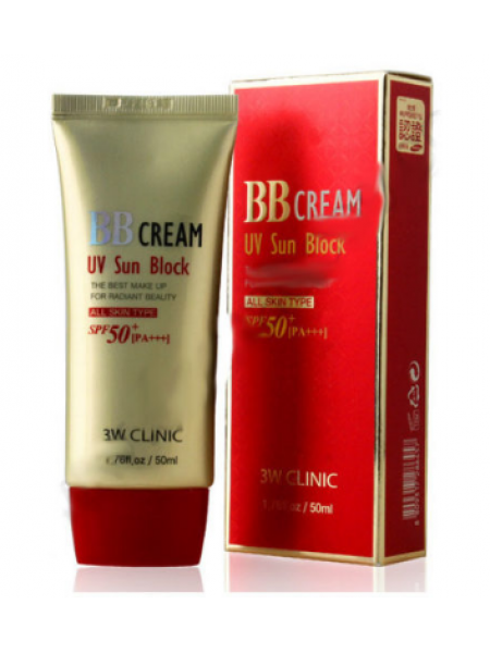 3W Clinic  BB Cream UV Sun Block Солнцезащитный ВВ крем для лица SPF50+PA+++