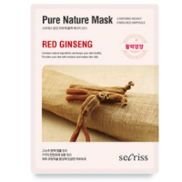 Anskin Secriss Pure Nature Mask Pack- Red ginseng Омолаживающая тканевая маска для лица с красным женьшенем