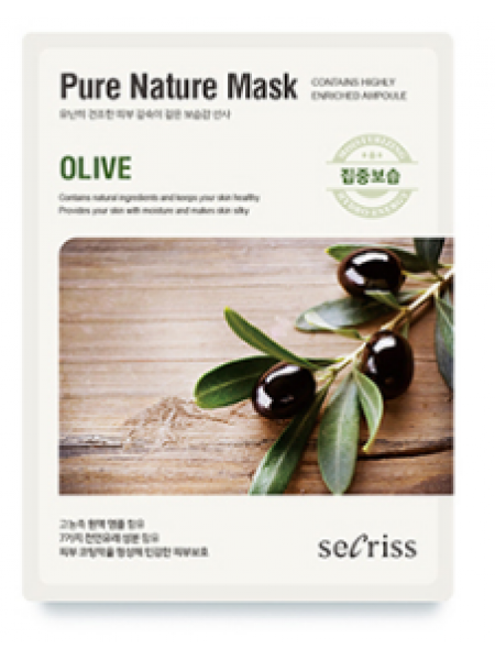 Anskin Secriss Pure Nature Mask Pack- Olive  Питательная тканевая маска для лица с оливой