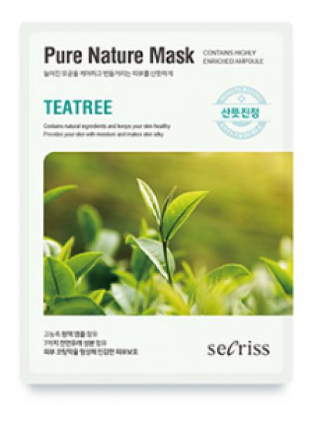 Anskin Secriss Pure Nature Mask Pack-Teatree тканевая маска для лица с экстрактом чайного дерева