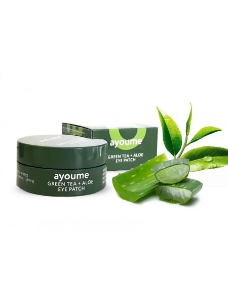 Ayoume Патчи Green Tea+Aloe Eye Patch от отечности с экстрактами алоэ и зеленого чая