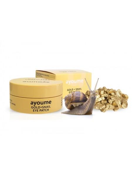 Ayoume Патчи Gold+Snail Eye Patch Гидрогелевые улиточные с золотом и улиткой