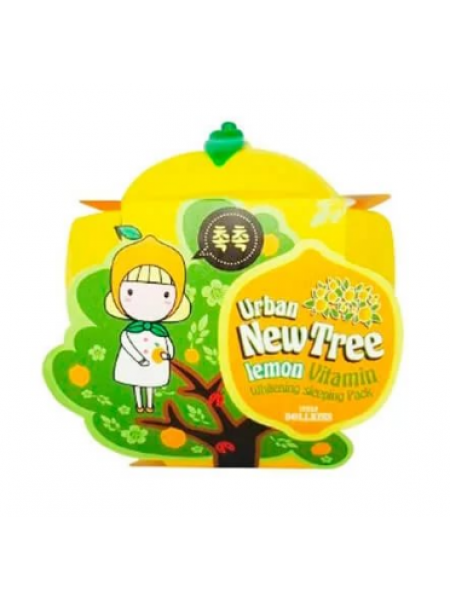 Ночная отбеливающая лимонная маска Baviphat Urban Dollkiss New Tree Lemon Vitamin Whitening Sleeping Pack