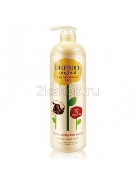 Deoproce Original scalp care 2 in 1 shampoo black garlic Шампунь-бальзам от выпадения волос Чёрный чеснок