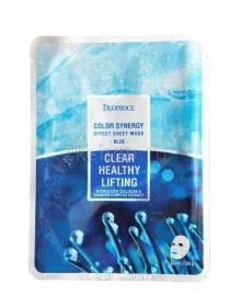 Deoproce Color Synergy Effect Sheet mask Blue Маска тканевая морской коллаген и экстракт водорослей