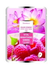 Deoproce Color Synergy Effect Sheet mask Pink Маска тканевая на основе цветов лотоса и малины