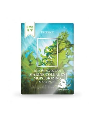 Набор тканевых масок с морским коллагеном (5 шт)  Deoproce Blooming MARINE COLLAGEN MOISTURIZING Mask Pack