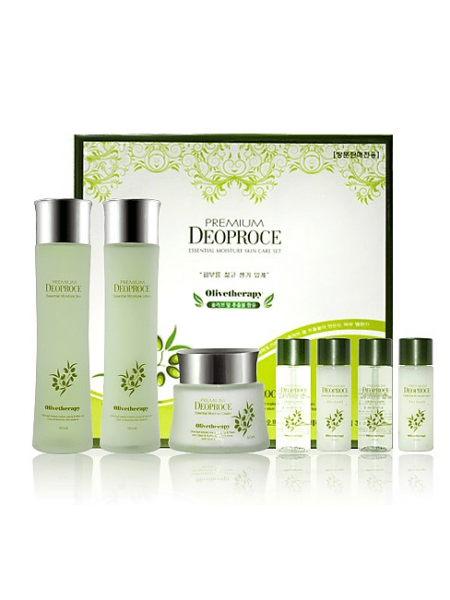 Deoproce Premium Olivetherapy Essential Moisture Skin Care set Набор увлажняющих средств для лица с экстрактом оливы