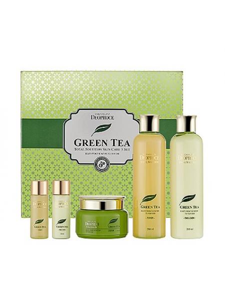 "Deoproce Premium Green Tea Total Solution Skin Care 3 Set Набор для ухода за кожей лица ""Зеленый чай"""