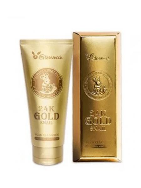 Elizavecca 24k Gold Snail Cleansing Foam Пенка для умывания с золотом и муцином улитки