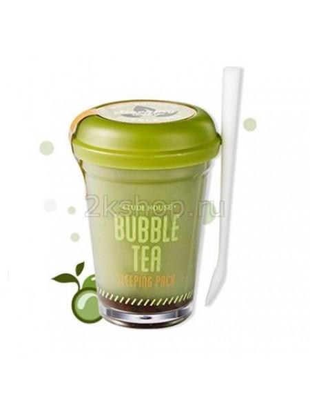 Ночная маска для лица с экстрактом зеленого чая  Etude house Bubble Tea Sleeping Pack Green Tea