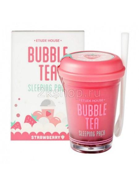 Ночная маска для лица с экстрактом клубники Etude house Bubble Tea Sleeping Pack Strawberry