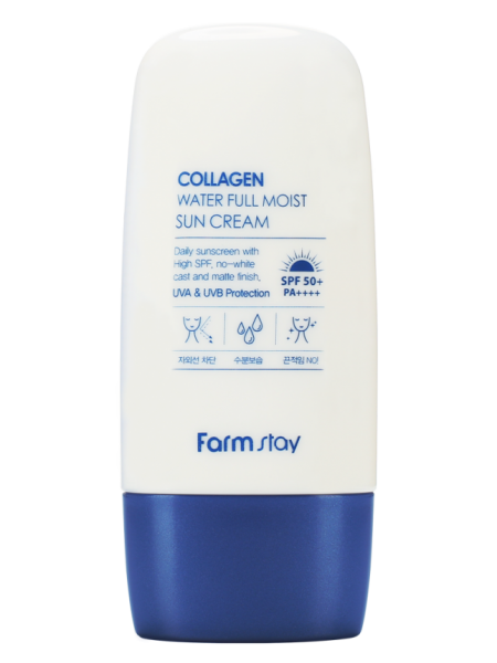 FarmStay Collagen Water Full Moist Sun Cream SPF50+/PA++++ Увлажняющий солнцезащитный крем с коллагеном