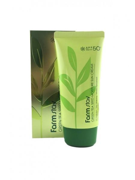 FarmStay Green Tea Seed Moisture Sun Cream SPF 50/PA+++ Солнцезащитный увлажняющий крем с семенами зеленого чая