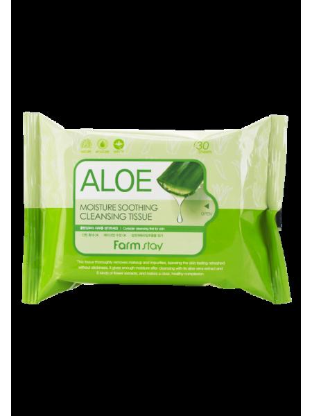 Очищающие увлажняющие салфетки с экстрактом алоэ FarmStay Aloe Moisture Soothing Cleansing Tissue