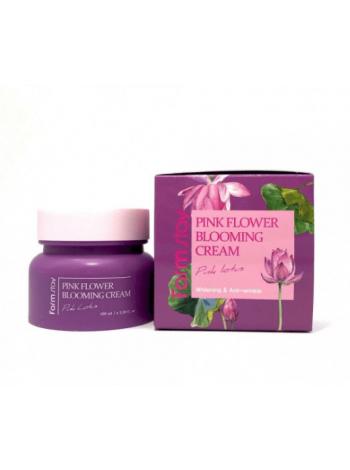 Farmstay Pink flower blooming cream pink lotus Крем для лица с экстрактом лотоса