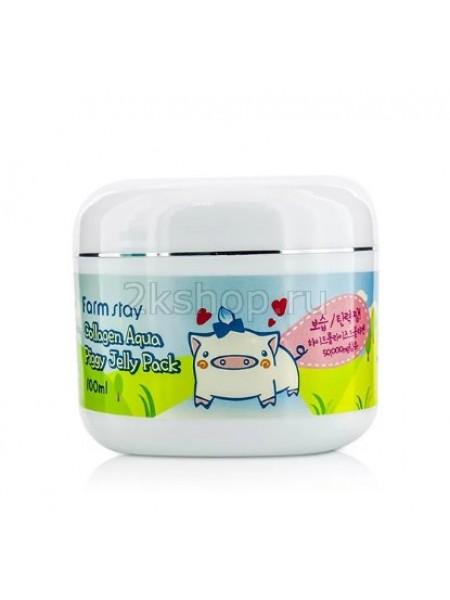 Ночная омолаживающая  маска с коллагеном FarmStay Collagen Aqua Piggy Jelly pack