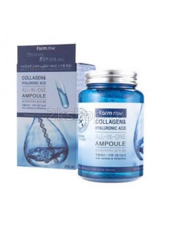 Многофункциональная ампульная сыворотка с  гиалуроновой кислотой и коллагеном  FarmStay  Collagen&Hyaluronic Acid All-In-One Ampoule