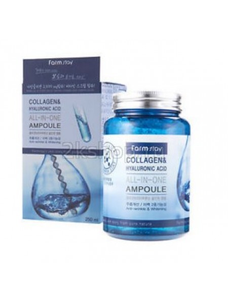 Ампульная сыворотка с  гиалуроновой кислотой и коллагеном  FarmStay  Collagen&Hyaluronic Acid All-In-One Ampoule