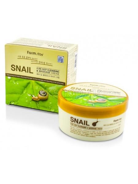 FarmStay Pure Deep Cleansing & massage cream Snail  Очищающий массажный крем с экстрактом улитки
