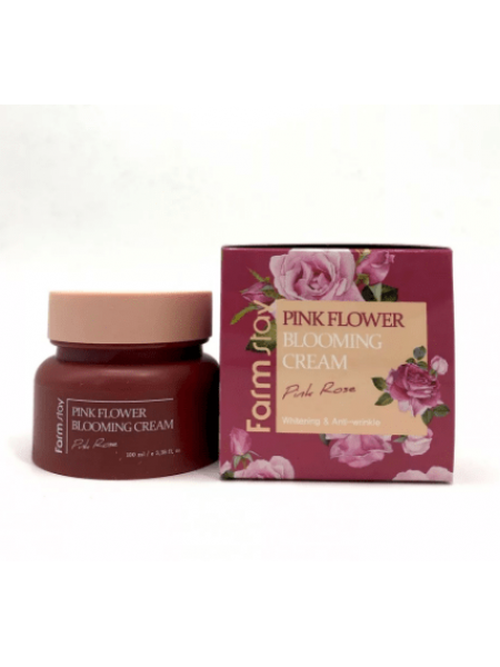 Farmstay Крем для лица с экстрактом розы  pink flower blooming cream pink rose