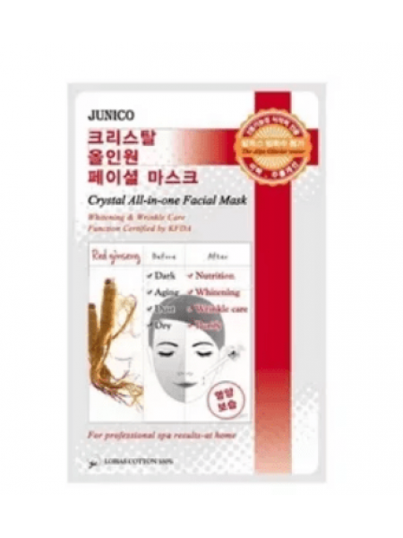 Тканевая маска с женьшенем Mijin Junico Crystal All-In-One Facial Mask Red ginseng