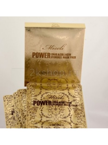 Misoli  Power Snail Collagen Hydrogel Mask Pack  Гидрогелевая маска для лица с экстрактом слизи улитки и коллагеном