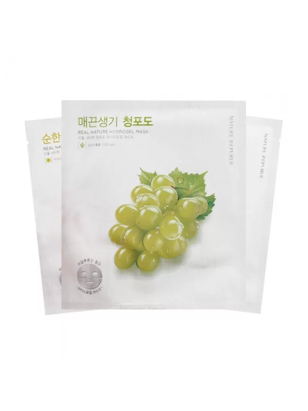 Гидрогелевая маска для лица с экстрактом зеленого винограда  Nature Republic Real Nature Gren Grape Hydrogel Mask