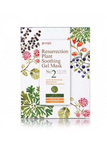 Petitfee Ressurection Plant Soothing Gel Mask Тканевая гель-маска  успокаивающая и восстанавливающая с растительными экстрактами