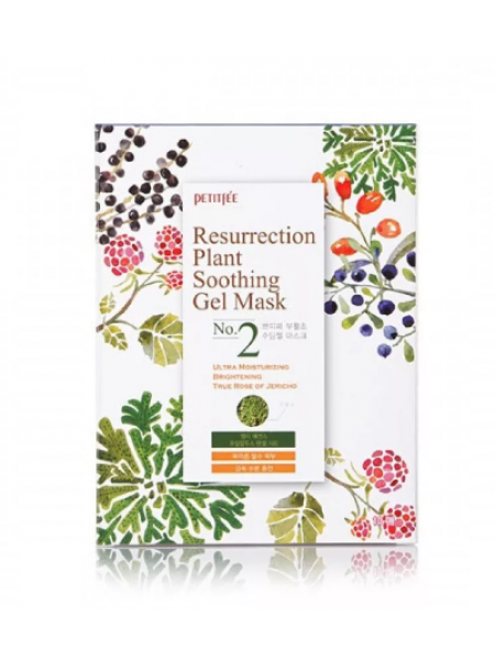 Petitfee Ressurection Plant Soothing Gel Mask Тканевая гель-маска  успокаивающая и восстанавливающая с растительными экстрактами