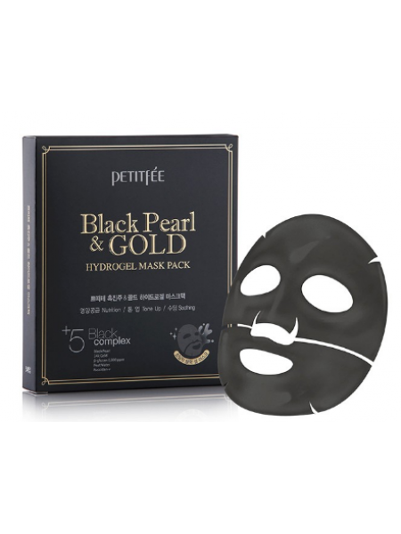 Гидрогелевая маска для лица c золотом и черным жемчугом Petitfee Black Pearl and Gold Hydrogel Mask Pack