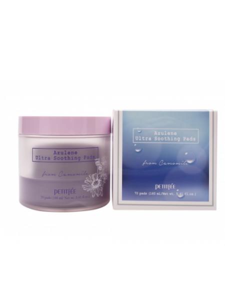 Успокаивающие пэды для лица с азуленом Petitfee Azulene Ultra Soothing Pads