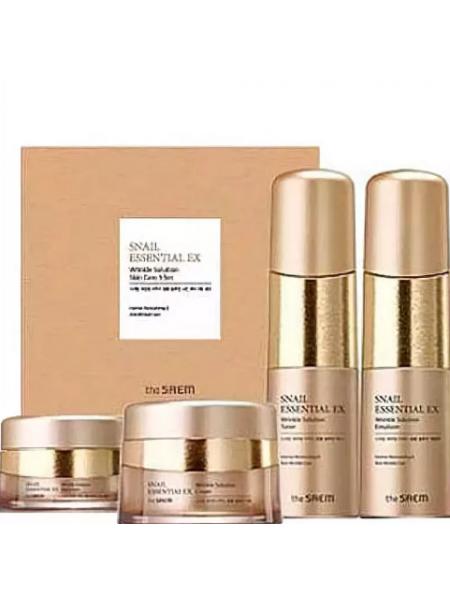 The Saem Snail Essential EX Wrinkle Solution Skin Care 3 Set Набор уходовый антивозрастной 150мл*150мл*60мл*30мл