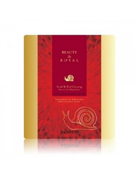 Гидрогелевая маска с экстрактом женьшеня The Saem Beaute De Royal Snail and Red Ginseng Mask Sheet