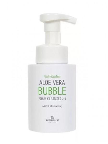 Очищающая кислородная пенка для лица с экстрактом алоэ The Skin House Aloe Vera bubble foam cleanser