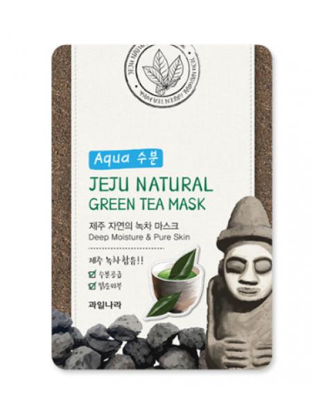 Jeju Nature's Green Tea Mask Успокаивающая тканевая маска для лица с зеленым чаем