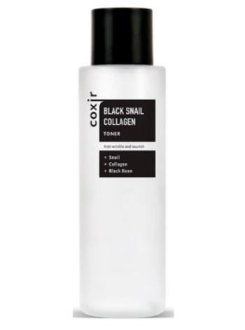COXIR Black Snail Collagen Toner Тонер против морщин с коллагеном и муцином черной улитки