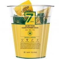 May Island  Скраб для лица в пакетиках c центеллой и алоэ  Secret pore clear powder scrub