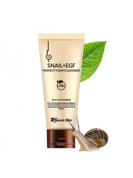 Secret Skin Snail+EGF Perfect Foam Cleanser  Пенка для умывания с муцином улитки и EGF