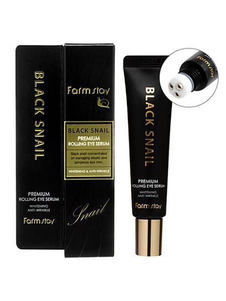 Сыворотка-роллер с муцином черной улитки для кожи вокруг глаз FARMSTAY Black Snail Premium Rolling Eye Serum 25мл