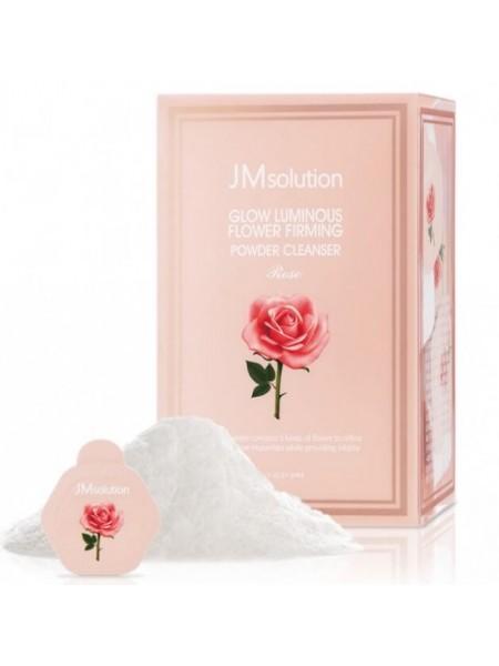 Энзимная пудра для сияния кожи с розовой водой JMsolution Glow Luminious Flower Firming Powder Cleanser Rose, 30*0,35г