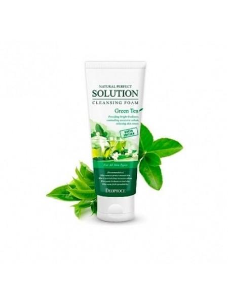 Пенка для умывания с экстрактом зеленого чая DEOPROCE Natural Perfect Solution Cleansing Foam Green Tea 170гр