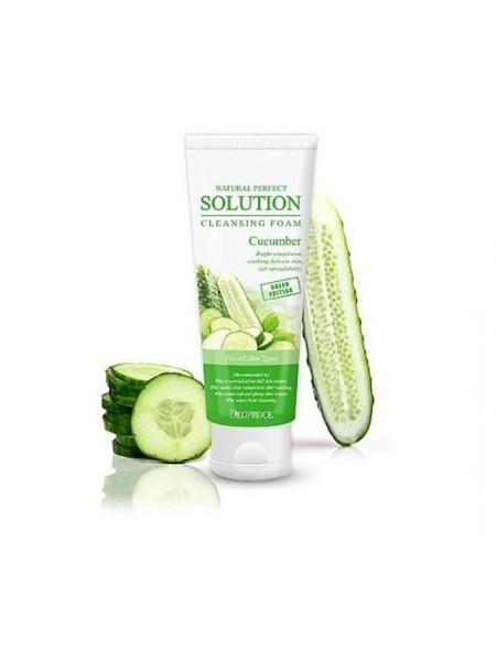 Пенка для умывания с экстрактом огурца DEOPROCE Natural Perfect Solution Cleansing Foam Cucumber170гр